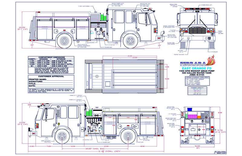 H5725 East Orange Ferrara Fire Pumper Spec Drawing