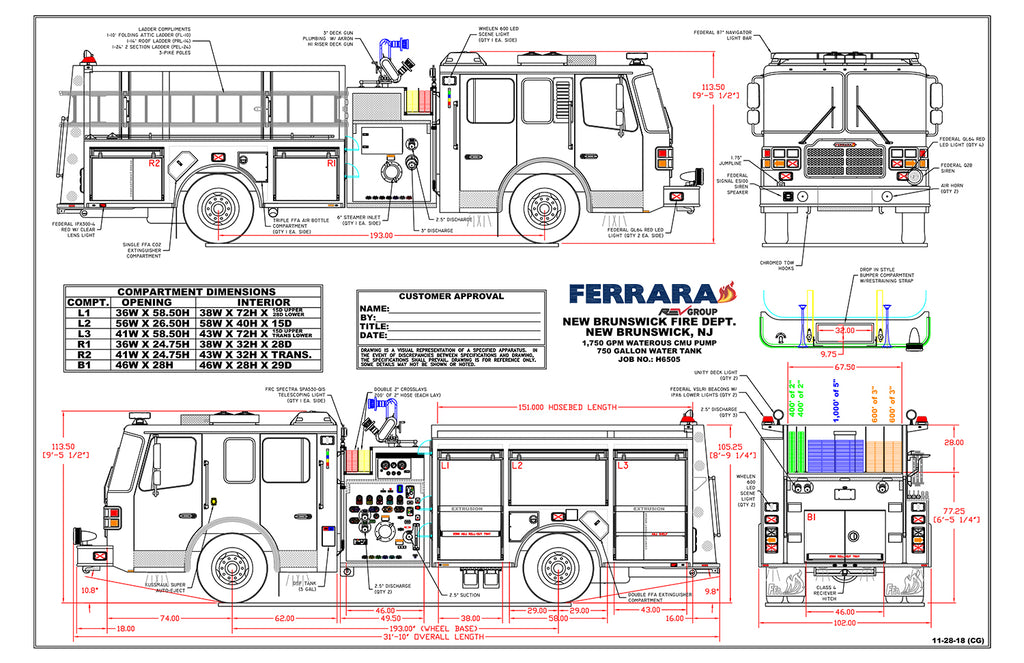 New Brunswick Ferrara Pumper Spec Drawing