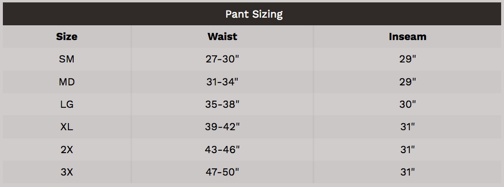 Fire Dex Chieftain Wildland Pant Sizing