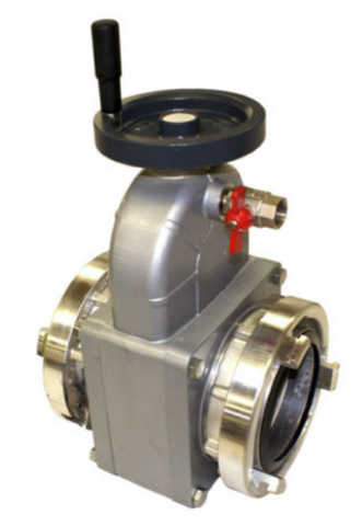 "Super Flow Straight 6"" Gate Valve / 4.5"" NH Female Swivel Rocker Lug Inlet x 4.5"" NH Male Outlet"