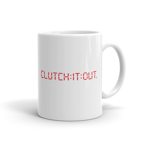 Clutch It Out brand mug