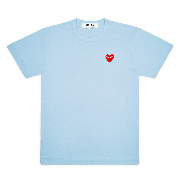 CDG PLAY SMALL RED HEART TEE – BLUE   WOMEN+