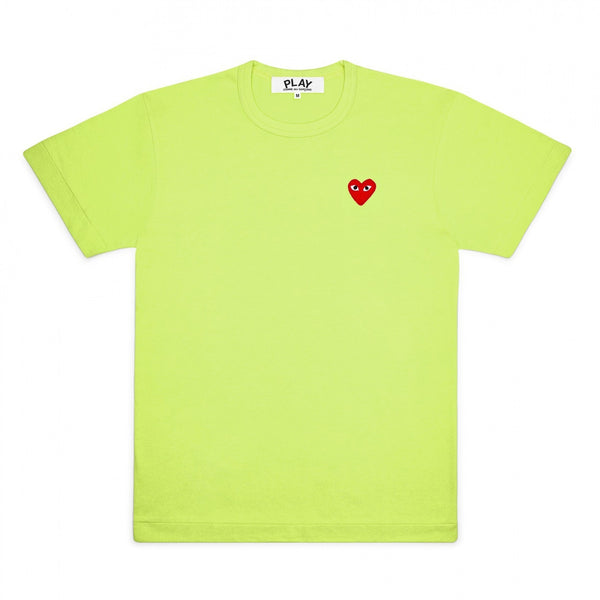 CDG PLAY SMALL RED HEART TEE – GREEN   WOMEN+