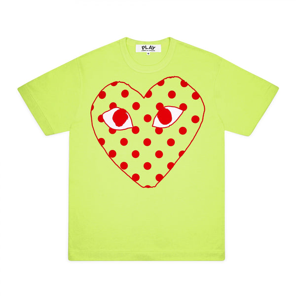 CDG PLAY BIG RED POLKA DOT HEART TEE – GREEN   WOMEN*