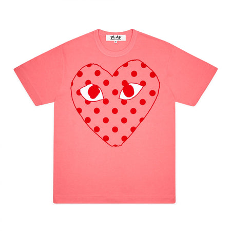 CDG PLAY BIG RED POLKA DOT HEART TEE – PINK   WOMEN