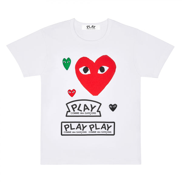 CDG PLAY LOGO BIG RED HEART TEE – WHITE+