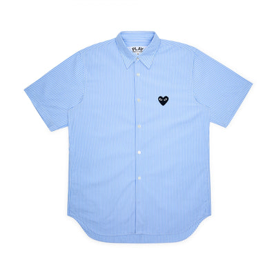 CDG PLAY STRIPED SHORT SLEEVE SHIRT – LIGHT BLUE