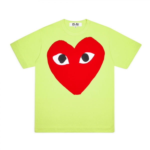 CDG PLAY BIG RED HEART TEE – GREEN   WOMEN+