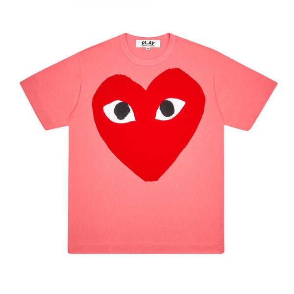 CDG PLAY BIG RED HEART TEE – PINK MEN