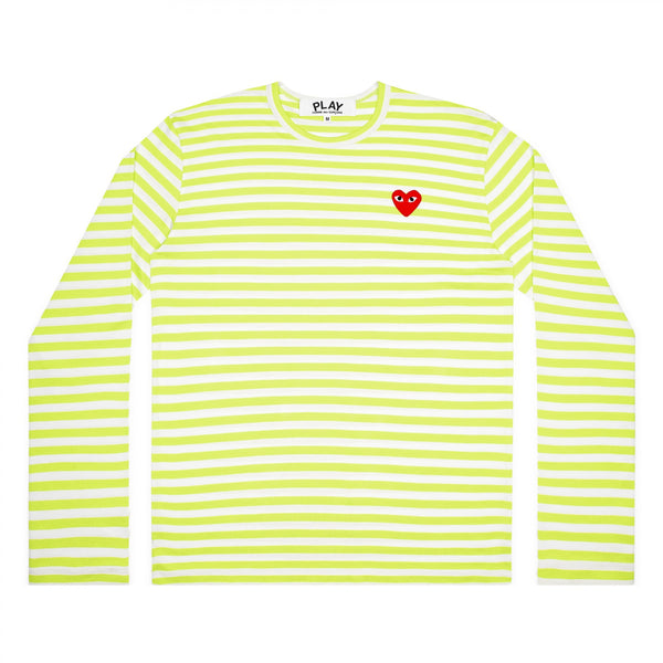 CDG PLAY LS STRIPED TEE – GREEN+