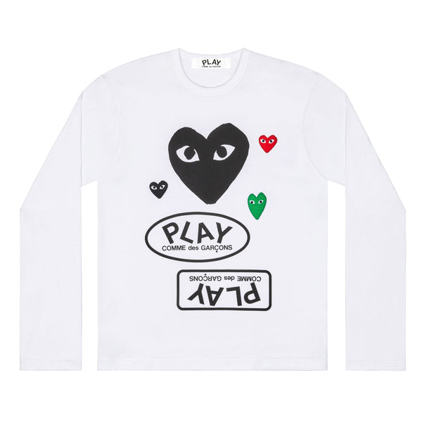 CDG PLAY LOGO BIG BLACK HEART TEE – WHITE   WOMEN*