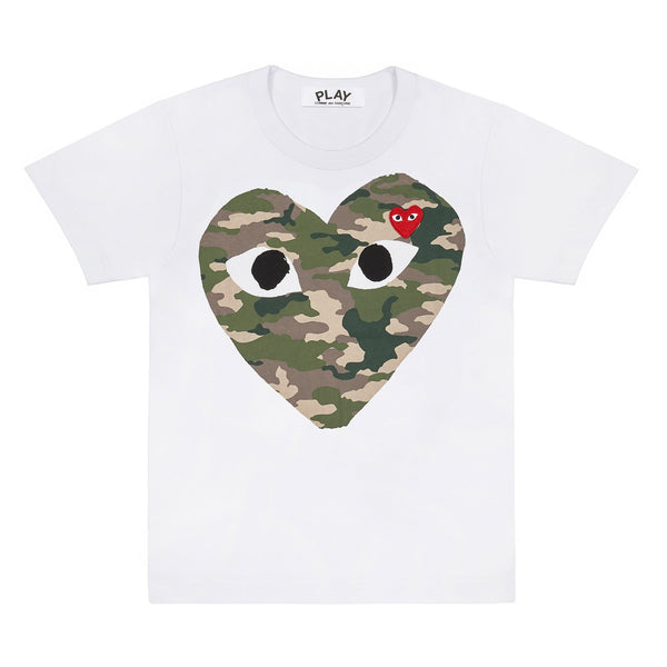 CDG PLAY BIG CAMO HEART TEE – WHITE   MEN*
