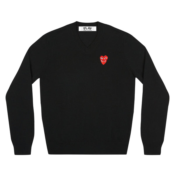 CDG PLAY DOUBLE EYE V NECK SWEATER – BLACK MEN*