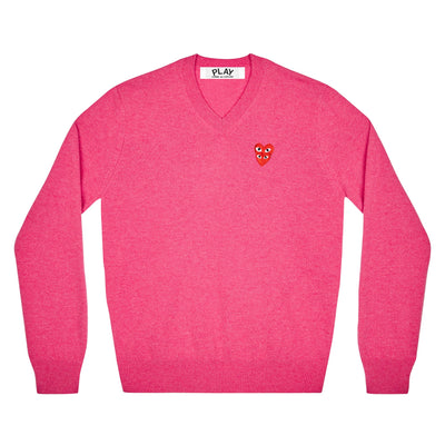 CDG PLAY DOUBLE EYE V NECK SWEATER – PINK   MEN*