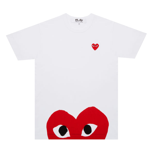 CDG PLAY BIG RED BOTTOM HEART TEE – WHITE   WOMEN*