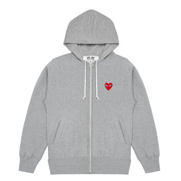 CDG PLAY SMALL RED HEART HOODY – GRAY*