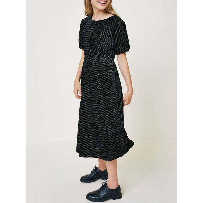 Annabel Velvet Puff Sleeve Midi Dress - Black,Dress,LeleGray.com
