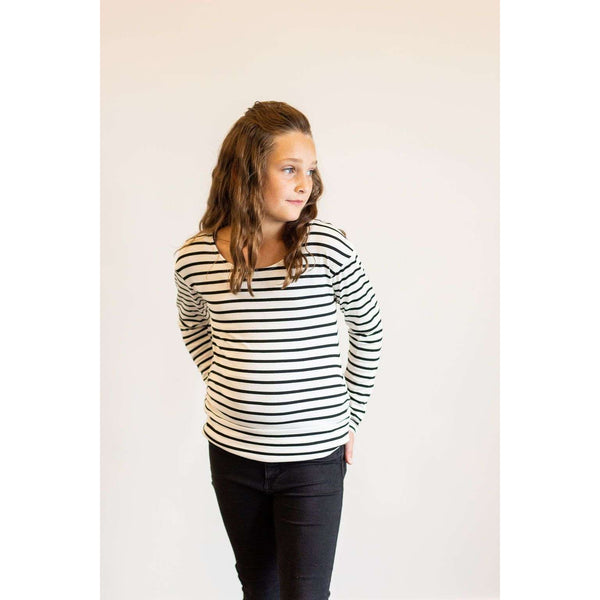 Avery Long Sleeve Striped Top - Black & White,Top,LeleGray.com