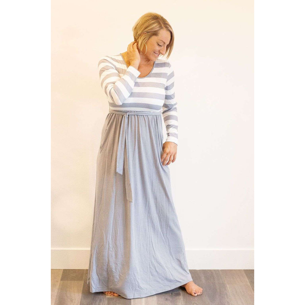 Camilla Striped Color Block Maxi Dress with Tie- Gray & White,top,LeleGray.com