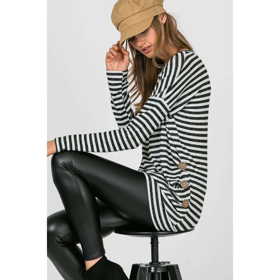 Charli Striped Long Sleeve Side Button Detail - Black & Ivory,womens top,LeleGray.com