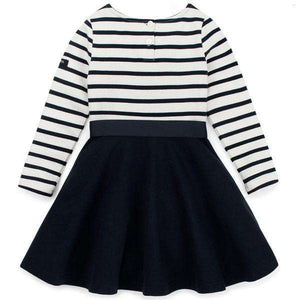 Charlotte Long Sleeve Striped Flare Dress - Navy,dress,LeleGray.com