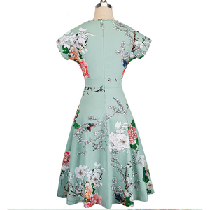 Cora Vintage Floral Swing Dress -Light Green,Womens Dresses,LeleGray.com