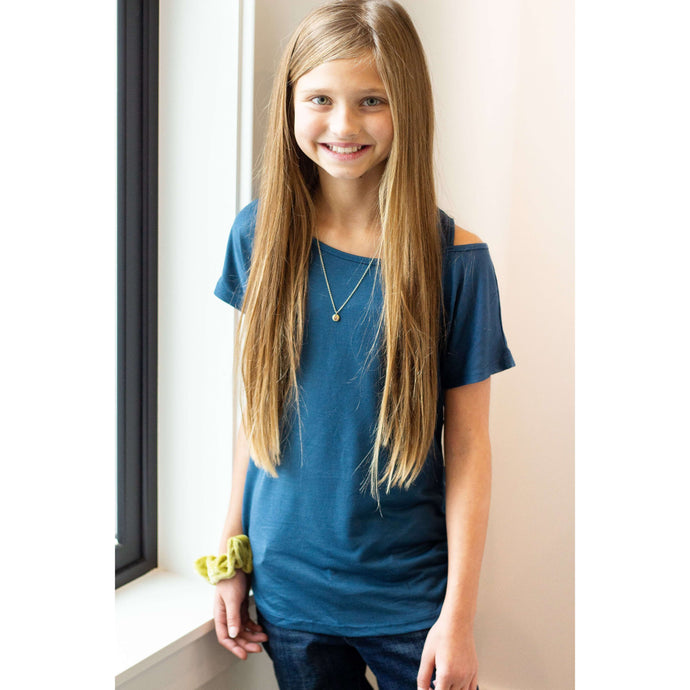 Courtney Cold Collar Tee - Blue,Top,LeleGray.com