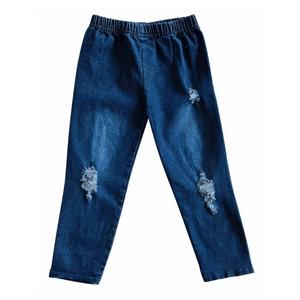 Distressed Denim Jeggings - Dark Wash,bottoms,LeleGray.com