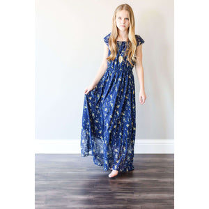 Elizabeth Flutter Sleeve Maxi Dress - Navy & Yellow Buds,dress,LeleGray.com