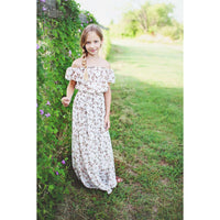 Elizabeth Flutter Sleeve Maxi Dress - Pink & Brown,Dress,LeleGray.com