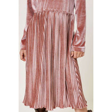 Load image into Gallery viewer, Embry Velvet Pleated Midi Dress - Mauve,Dress,LeleGray.com