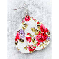 Floral Design Leather Earrings - Color Variety