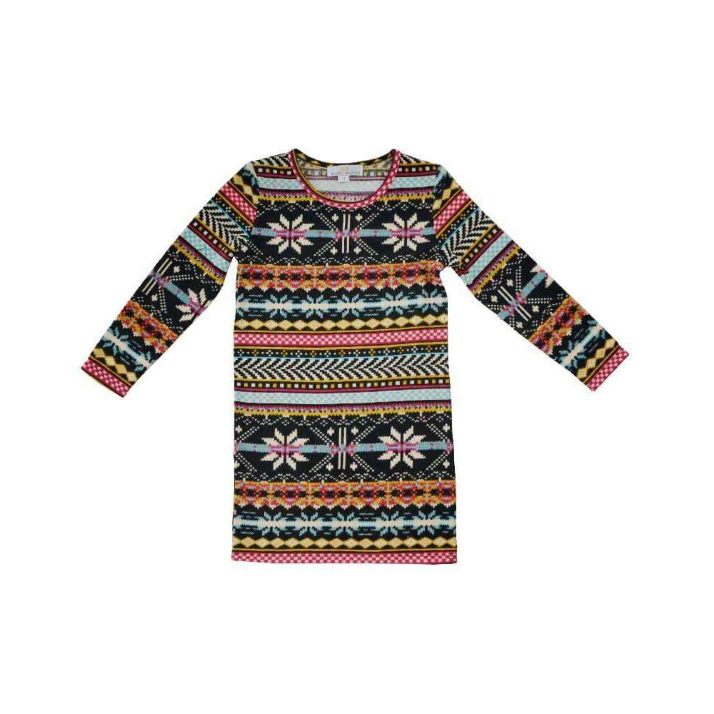 Georgie Sweater Dress - Black Multi Color,Dress,LeleGray.com