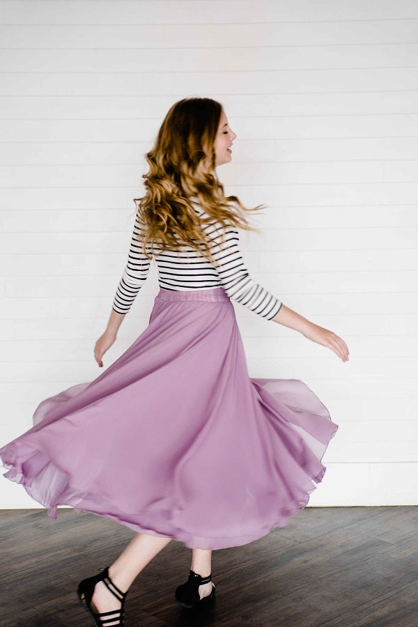 Hallie Chiffon Maxi Skirt - Purple