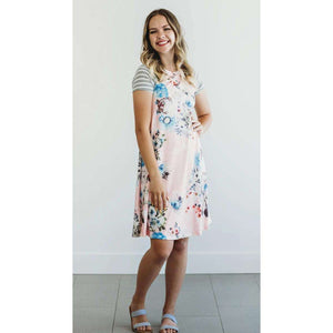 Hattie Floral and Stripe T-Shirt Dress - 5 Colors,Small / Pink,Womens Dresses,LeleGray.com