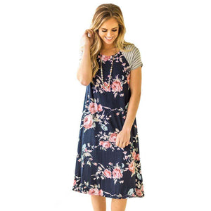Hattie Floral and Stripe T-Shirt Dress - 5 Colors,Small / Navy Blue,Womens Dresses,LeleGray.com