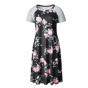 Hattie Floral and Stripe T-Shirt Dress - 5 Colors,Medium / Black,Womens Dresses,LeleGray.com