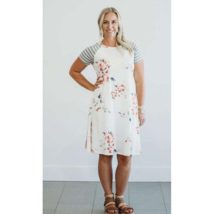 Hattie Floral and Stripe T-Shirt Dress - 5 Colors,Medium / White,Womens Dresses,LeleGray.com