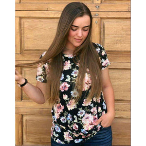 Hayley Twist Front Floral Top - Black Floral LAST ONE,top,LeleGray.com