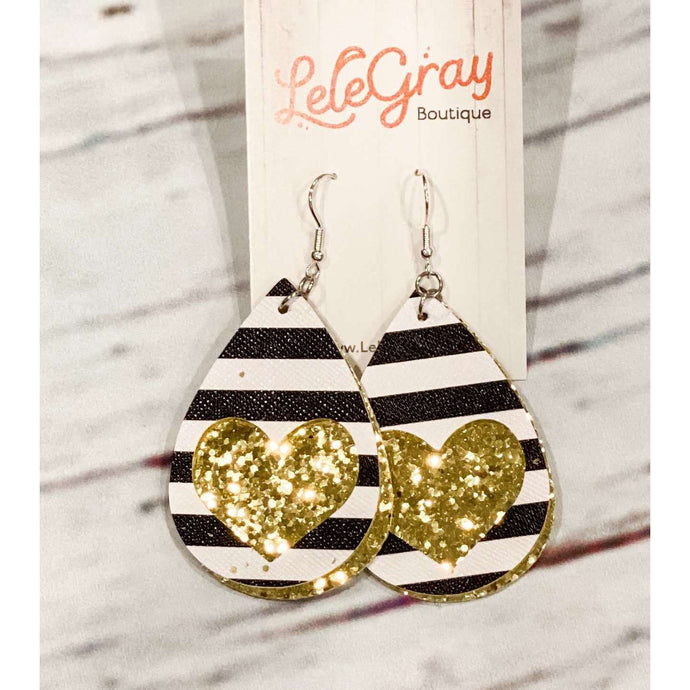 Heart & Striped Leather Earrings - Gold Sequence,Jewelry,LeleGray.com