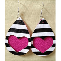Heart & Striped Leather Earrings - Pink Matte,Jewelry,LeleGray.com