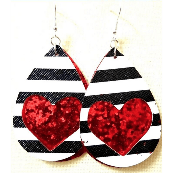 Heart & Striped Leather Earrings - Red Sequence,Jewelry,LeleGray.com