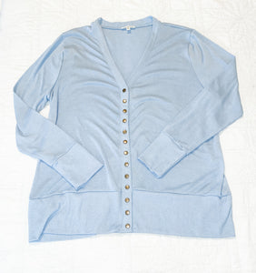 Long Sleeve Button Front Cardigan - Icy Bay Blue