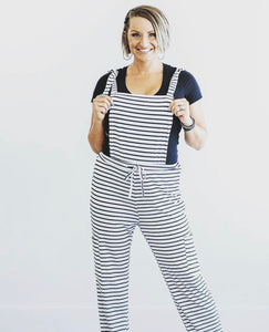 Striped Stretchy Overalls with Tie Waist- White with Black Stripes