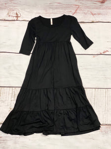 NEW Samantha Solid Long Sleeve Tiered Maxi Dress - Black