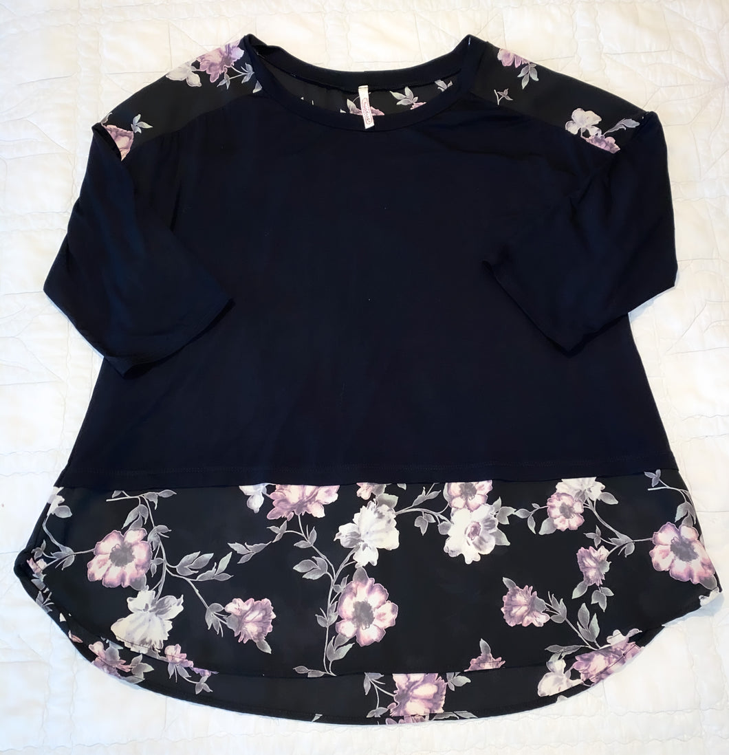 Floral and Black 3/4 Sleeve Top
