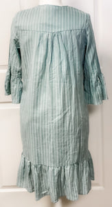 Knee Length Striped Ruffle Dress with Button Front - Seafoam