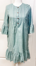 Load image into Gallery viewer, Knee Length Striped Ruffle Dress with Button Front - Seafoam