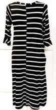 Load image into Gallery viewer, Midi Black Striped Dress with Button Neck and Ruffled Sleeve
