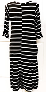 Midi Black Striped Dress with Button Neck and Ruffled Sleeve